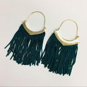 Jewelry - Emerald Green and Gold Tassel Earrings
